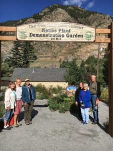 Volunteers at the entrance of the Native Plant Demo Garden