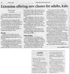 Extension offering new classes for adults and kids September 2017