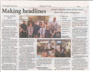 Clear Creek Courant news snipping about the Discover Clear Creek 4-hers meeting county commissioners