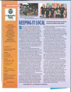 Clear Creek Rush magazine article about CSU Extension