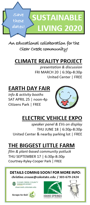 Flier to save the dates for 2020 Sustainable Living events in Clear Creek County