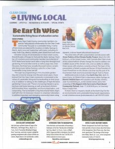 Article from Clear Creek Living Local about Sustainability topics to be covered in 2020 events