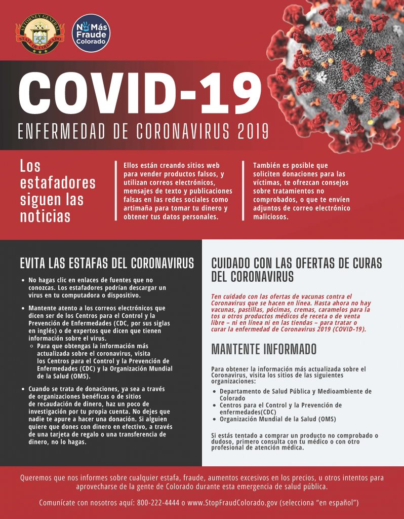 Spanish version of Infographic to be aware of scams during the public health crisis including fraud, price gouging, fraudulent organization/fundraising, etc