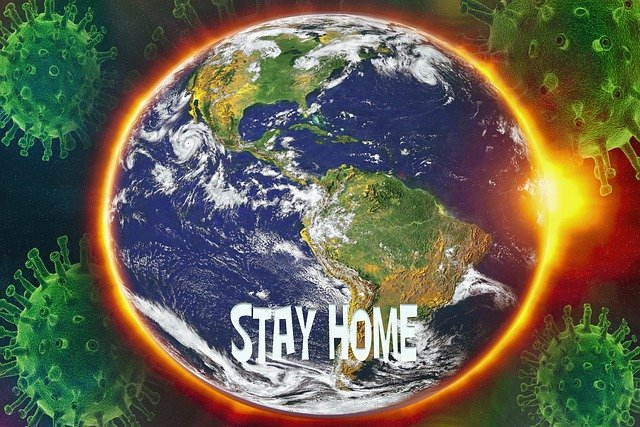 "Earth from satellite reading ""Stay Home"""