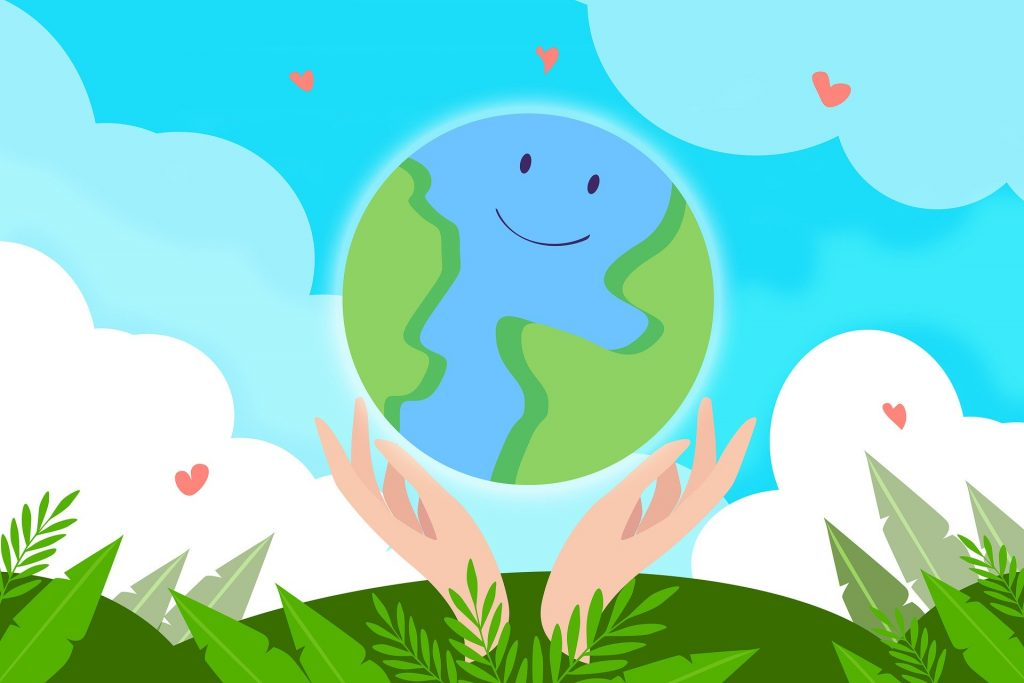 Cartoon of earth with a smile and hands, sky and nature