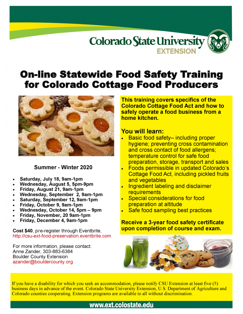 Flier for Summer-Winter 2020 Cottage Food Producer online food safety training