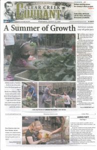 August 2020 Clear Creek Courant article scan about Kidz Korner gardening