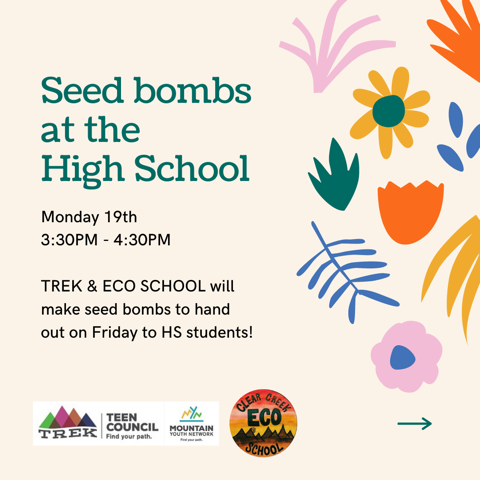 Trek & Eco school will make seed bombs for High School students in activity on Monday April 19th 2021