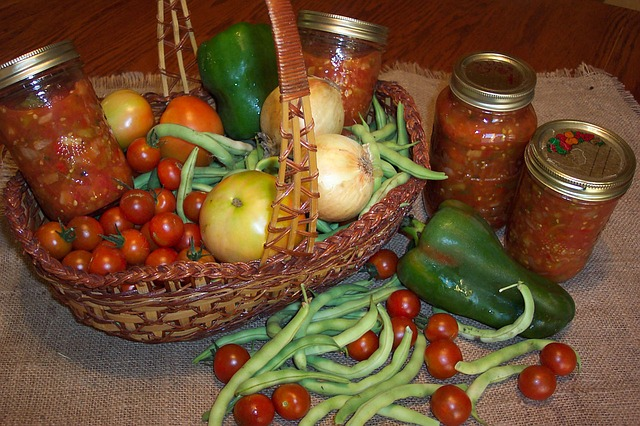 Canning produce from a home gardening harvest